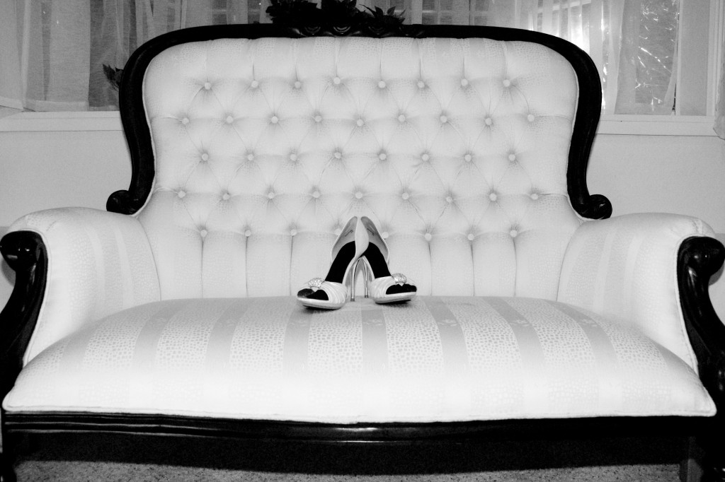 Fancy Feet Wedding - bridal shoes on couch
