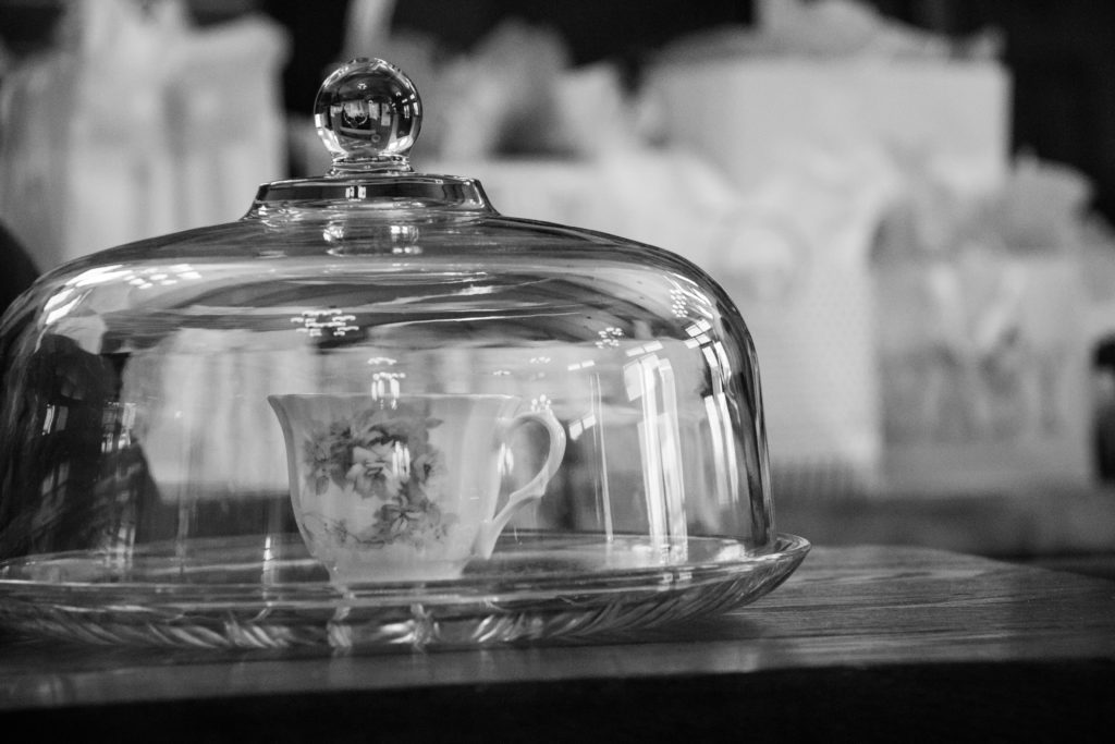 black and white teacup in a glass dome
