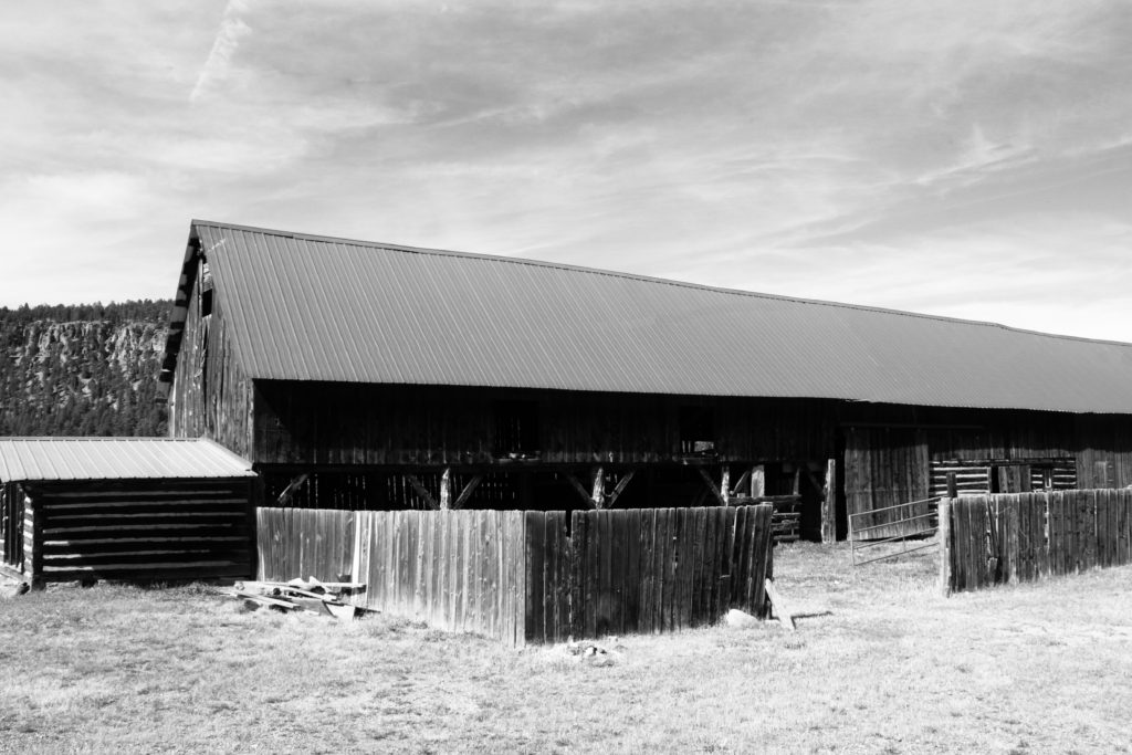 black and white photo of the Million Ranch barn in South Fork Colorado